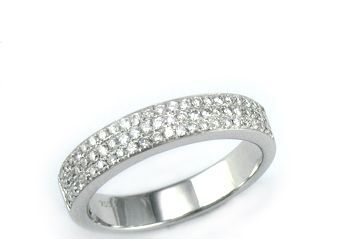 Anillo oro blanco diamantes corte brillante