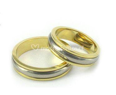 Argolla oro amarillo centro oro blanco