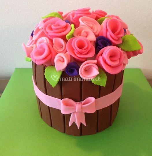 Torta cesta flores