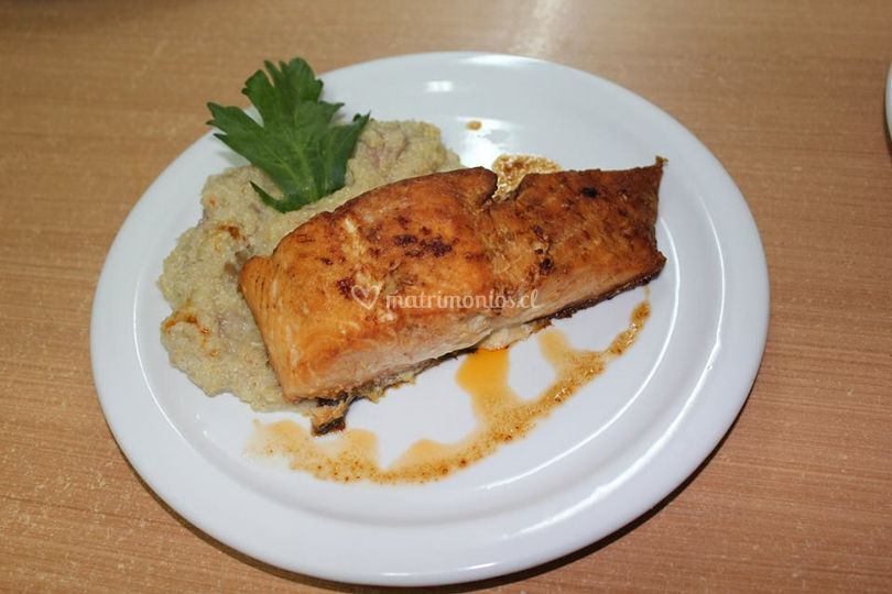 Salmón y rissoto de quinoa