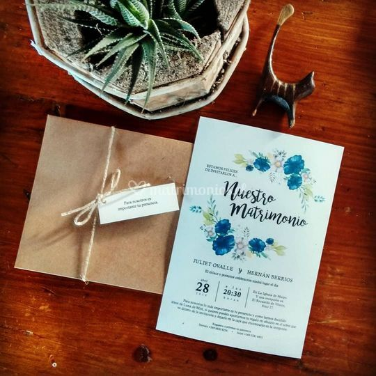 Invitación matrimonio Blue