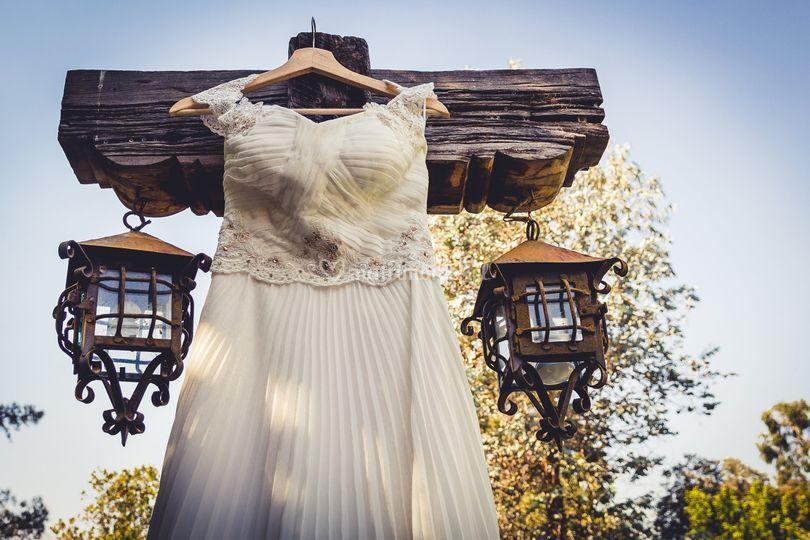Vestido de novia en exterior