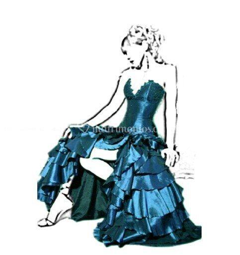 Vestido azul con corset tallas