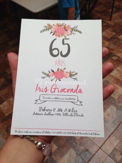 Invitación cumpleaños nº 65
