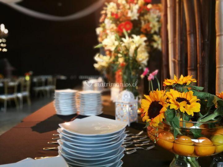 Girasoles y decoración buffet