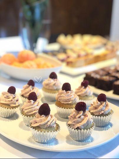 Mini cupcakes de frambuesa