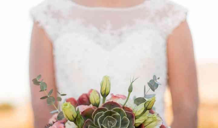 Suculentas, lisianthus y rosas