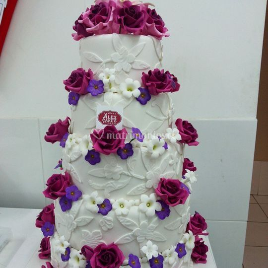 Torta novios detalle flores