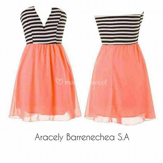 Vestido coral y rayas código:009