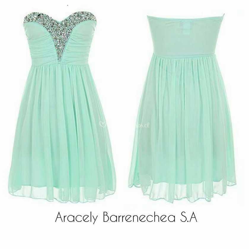 Vestido de fiesta verde agua