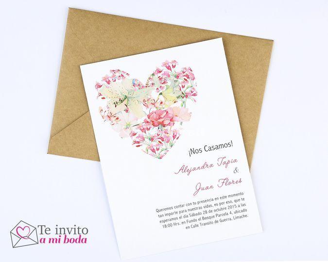 Invitación Corazon Floral
