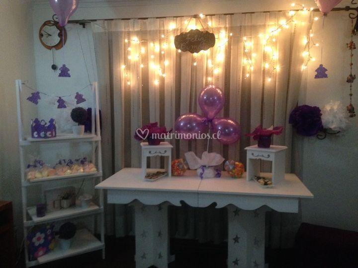 Mesa candy bar y repisa