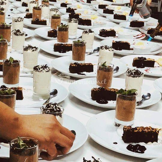 Postre brownie de chocolate