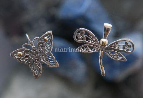 Mariposa y libélula