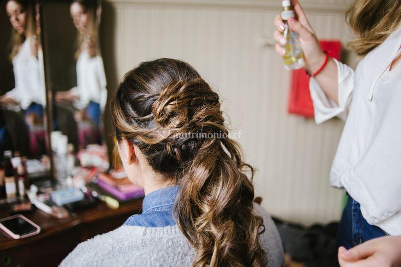 Proceso peinado de novia