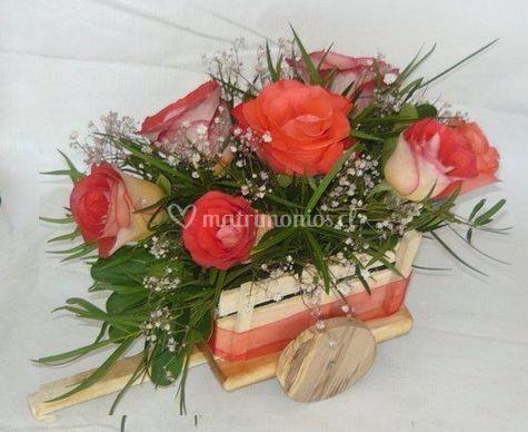 Flores en carretilla