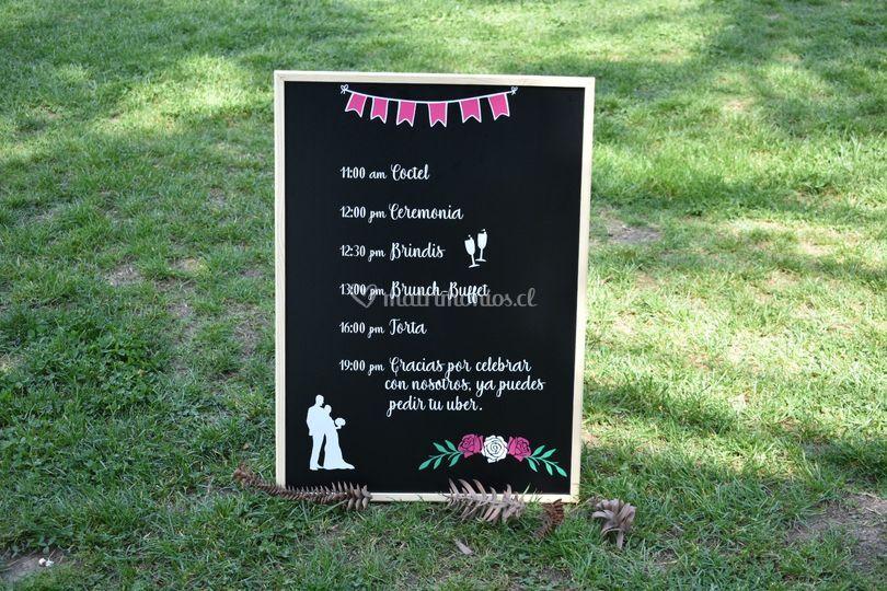 Pizarra cronograma boda