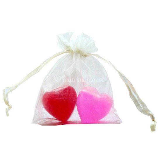 2 mini jabones de corazón