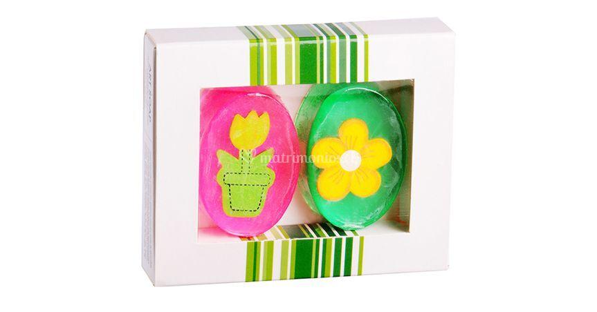 Caja 2 jabones flores