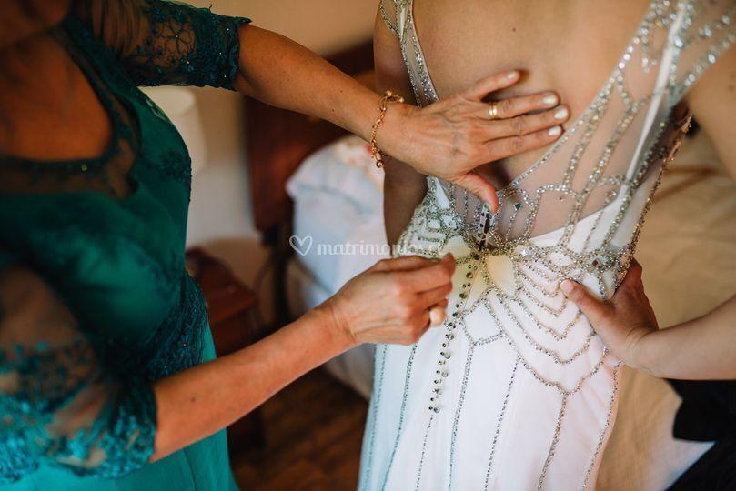 Vestido bordado en cristal