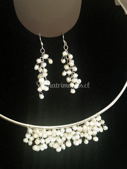 Tiara plata y perlas cultivada