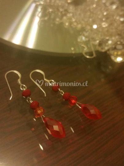 Aros cristal rojo y coral