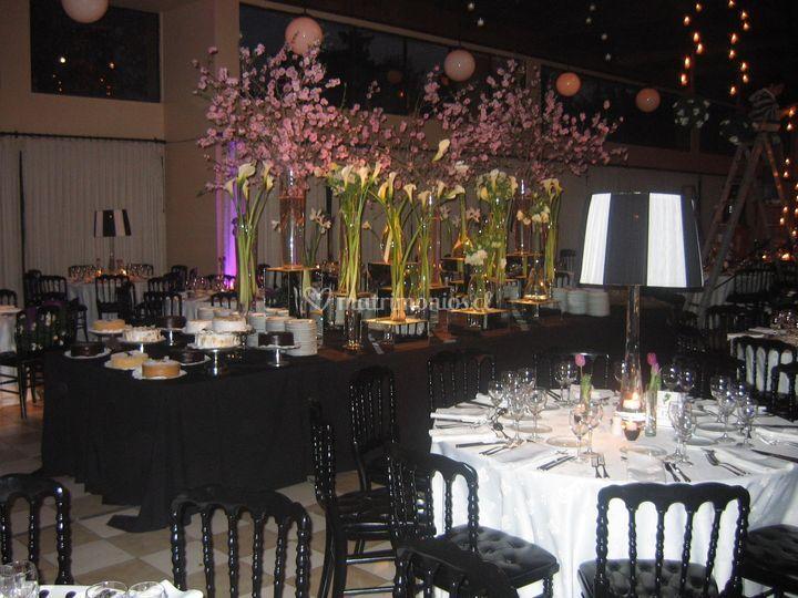 Buffet con ciruelos en flor
