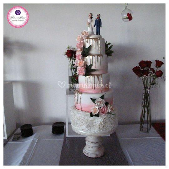 Torta bodas tonos rosados
