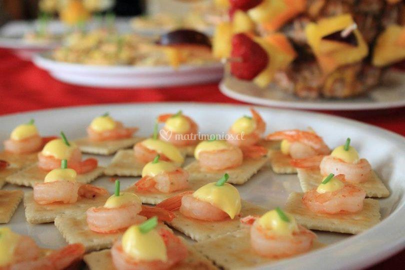 Camarones con queso