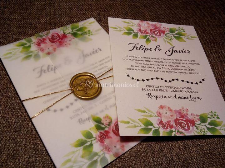 Invitación floral lacre.