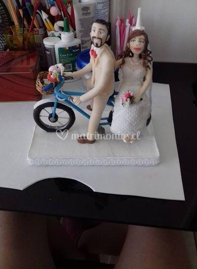 Novio en bicicleta