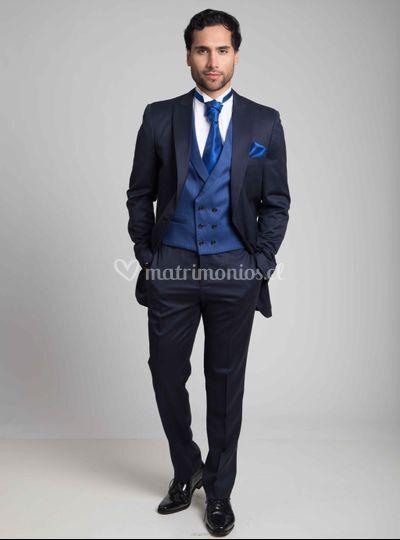 Chaqué Tuxedo Azul Chaleco Cru