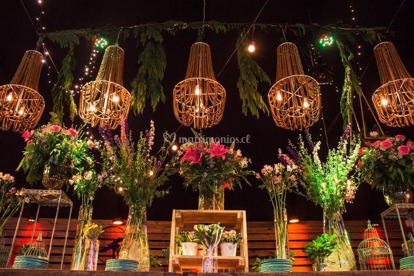 Lámparas de bolitas de madera