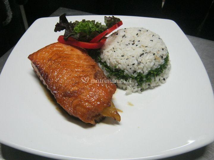 Salmon teriyaky
