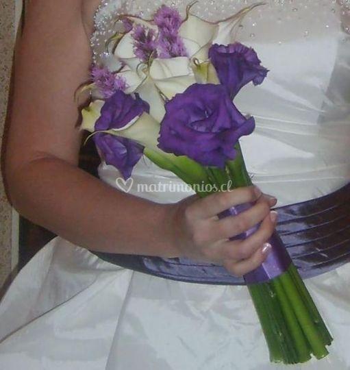 En lila y blanco
