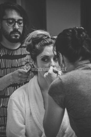 El proceso de maquillaje