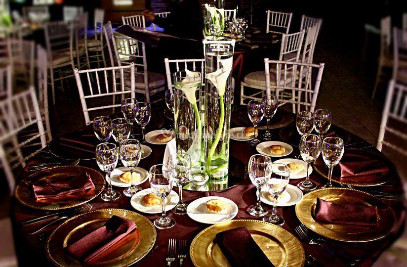 Centro de mesa con calas