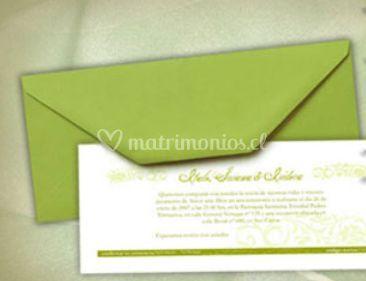 Invitacion con sobre verde