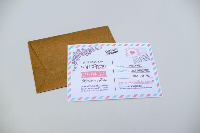 Invitación carta postal