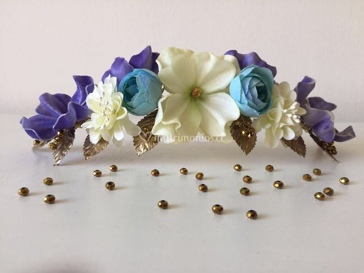 Media corona flores tonos lila