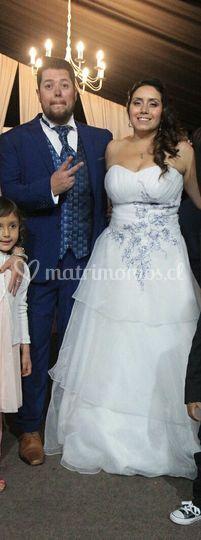 Vestido blanco puro y azul