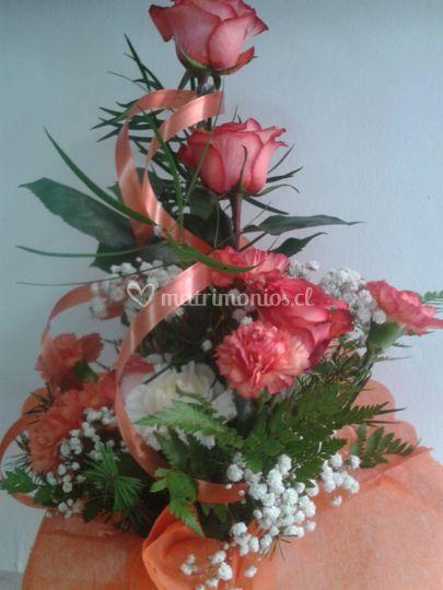 Bouquet en tonos anaranjados