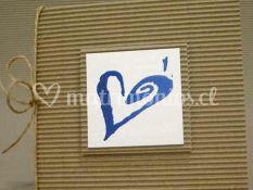 Invitacion rustico con corazon azul