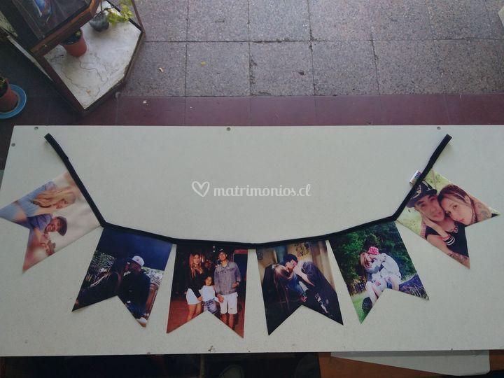 Banderines con fotos de los novios