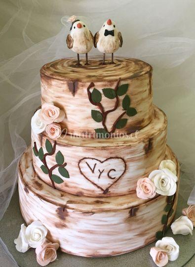 Torta Troncos y pajaritos