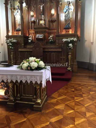 Altar hortensias