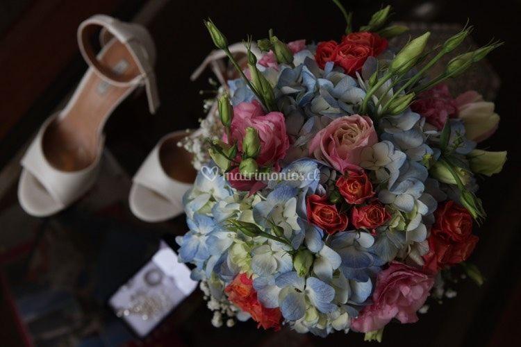 Ramo novia hortensias