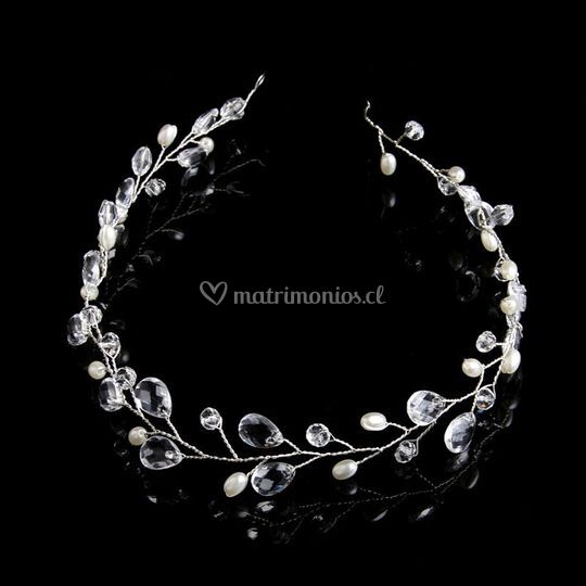Diadema perlas y cristales