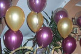 Globos helio,violetas dorados