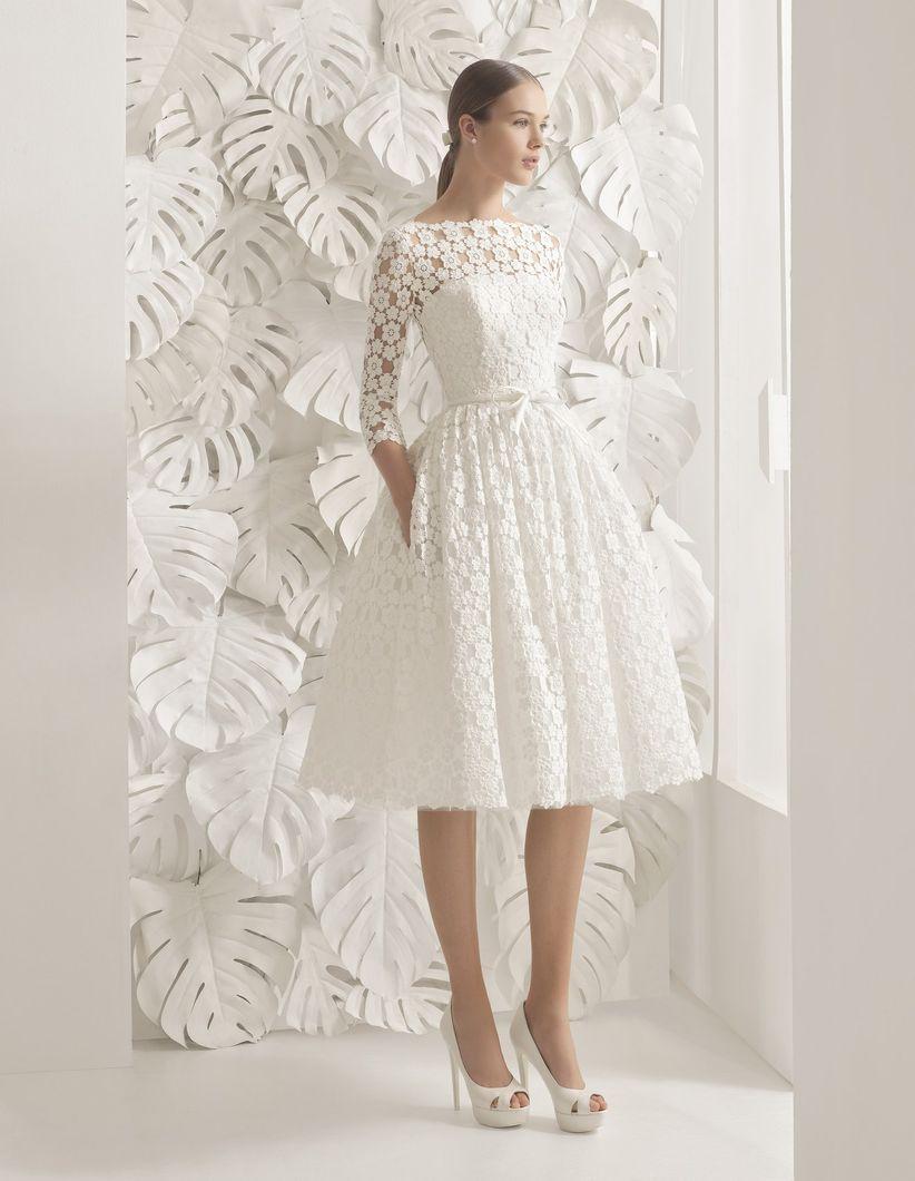 Vestido de novia corto accesorios